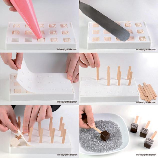 Etapes de realisation de glaces en forme de Cubes