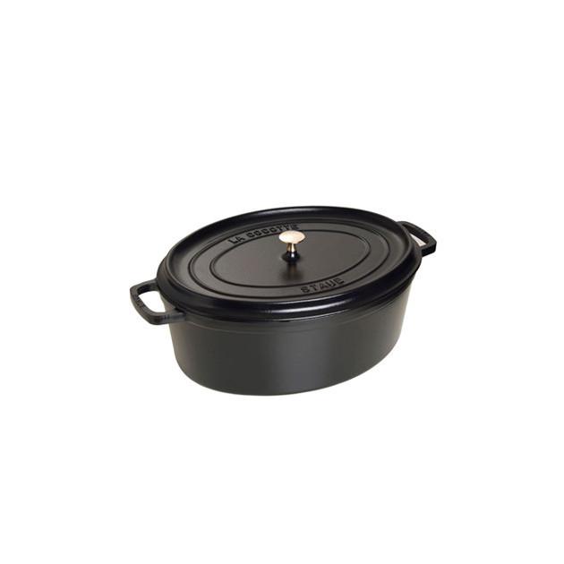 STAUB Cocotte Fonte Ovale 37 cm Noir Mat 8 L