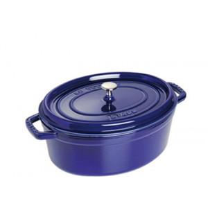 STAUB Cocotte Fonte Ovale 29 cm Bleu Intense Majolique 4,2 L