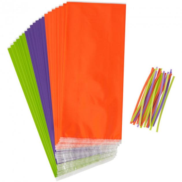 FIN DE SERIE Sachet Bonbon Violet-Vert-Orange (x20) Wilton