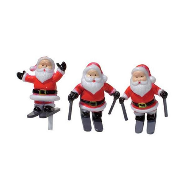 Pere Noel a Ski sur pique x72 Decor Bûche de Noel