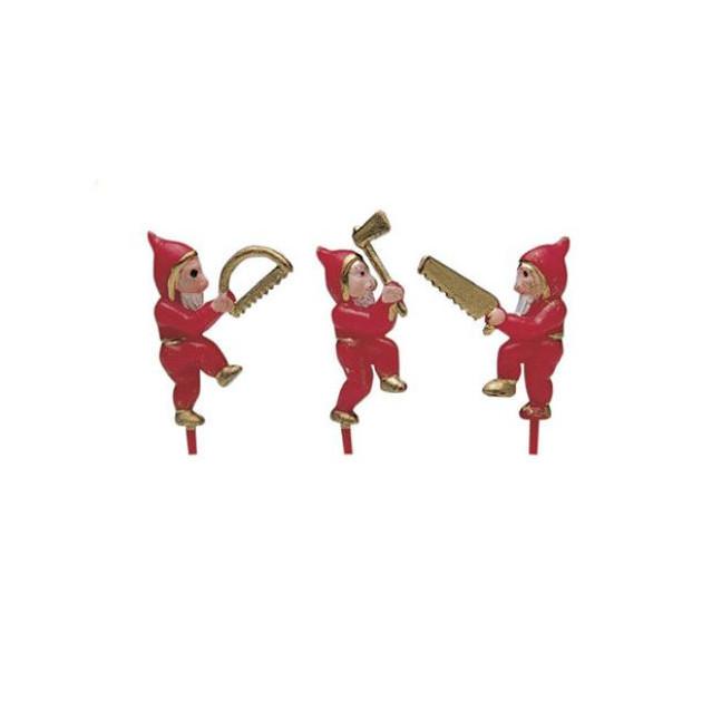 Lutins Rouges sur pique x100 Decor Bûche de Noel