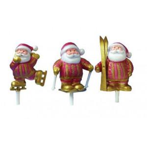 Père Noël Sports d'Hiver Rouge et Doré x72