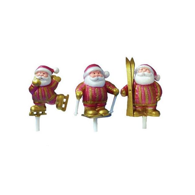 Pere Noel Sports d'Hiver Rouge et Dore x72 Decor Bûche de Noel