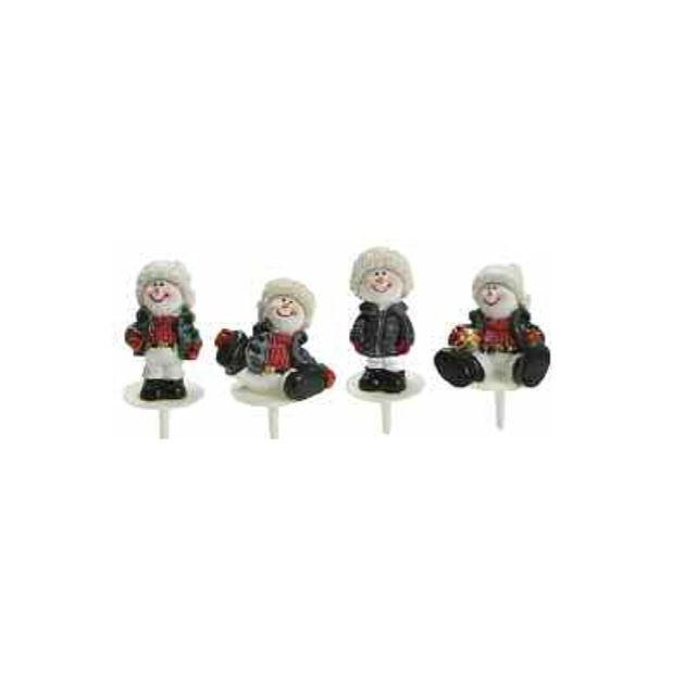 Bonhomme de Neige Doudoune Sujet Resine x50 Decor bûche Noel