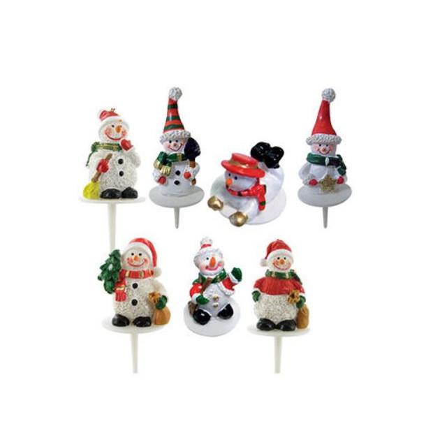 Bonhomme de Neige Sujet Resine x50 Decor bûche Noel