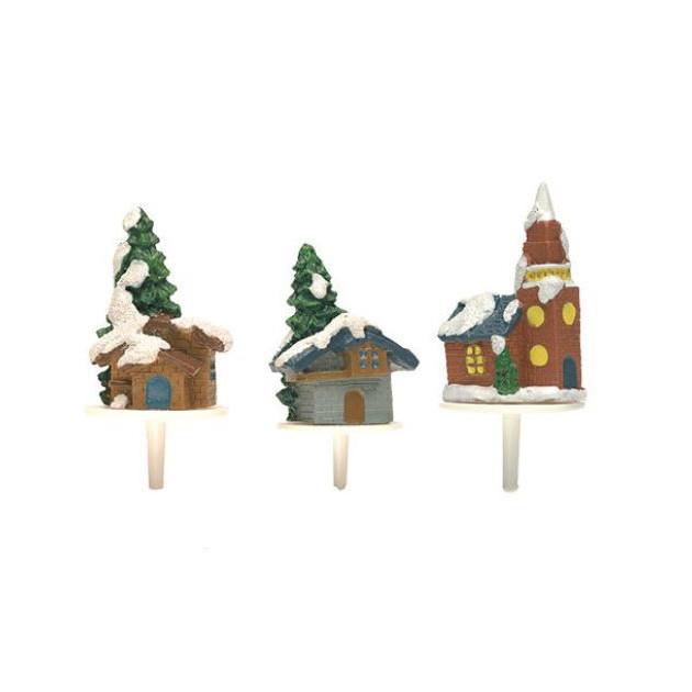 Chalets Enneiges Sujets en Resine x50 Decor bûche Noel