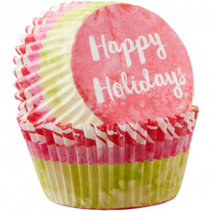Caissette en Papier Happy Holidays Ø5cm (x75) Wilton