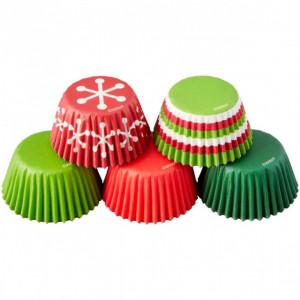 Mini Caissettes en Papier Rouge et Vert Ø3cm (x150) Wilton