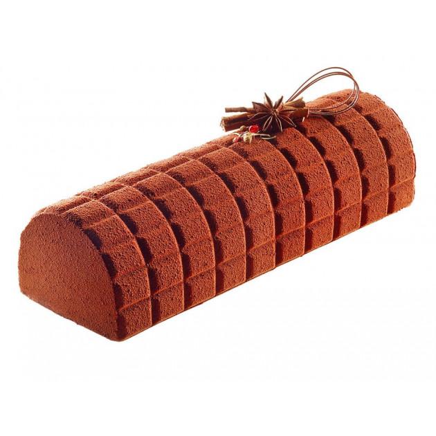 Bûche realisee avec le Tapis Decor Bûche Tablette de Chocolat SilikoMart Professional