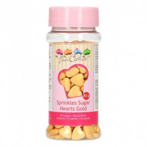 Coeurs en sucre Doré 80g Funcakes