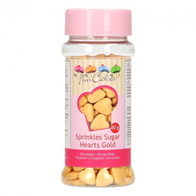 Coeurs en sucre Dore 80g Funcakes