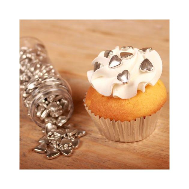 Utilisation des Coeurs en sucre Argente sur un Cupcake