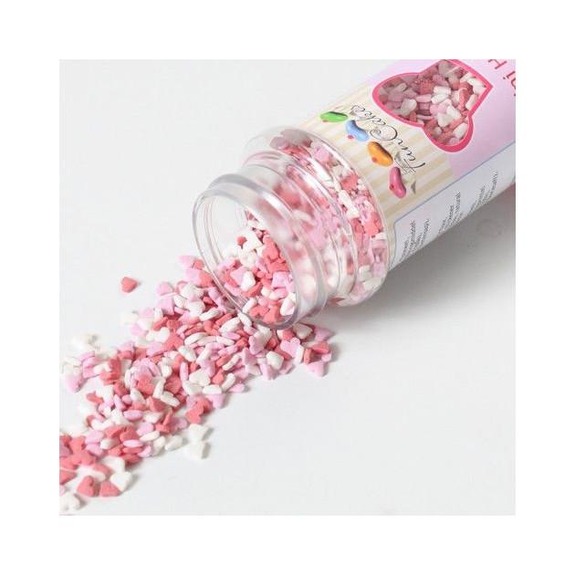 Presentation des differents coloris de Mini Coeurs en sucre