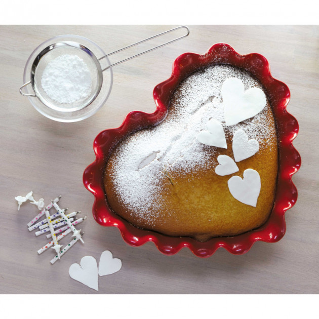 Moule Coeur Corolle Emile Henry et genoise nature saupoudre de sucre glace