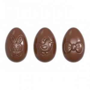 Moule Chocolat Oeuf Motifs Pâques 6,2 cm (x12) Chocolate World