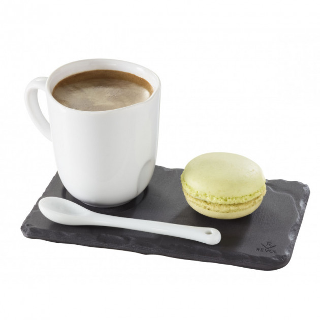 Cafe gourmand avec la soucoupe Basalt en porcelaine Revol