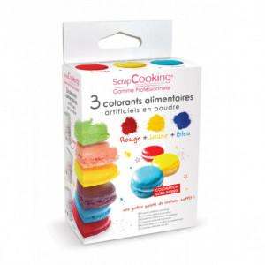 Lot de 3 Colorants Alimentaires en Poudre Rouge / Jaune / Bleu Scrapcooking