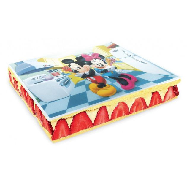 Gateau Fraisier decore d'un azyme Mickey et Minnie