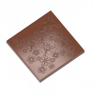 Moule Chocolat Carré Fleuri 99 mm (x2) Chocolat Form