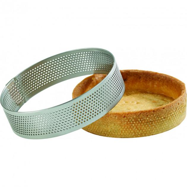 Cercle a tarte perfore inox disponible en 14 tailles