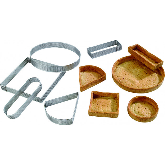 Cercle a tarte inox perfore diverses formes