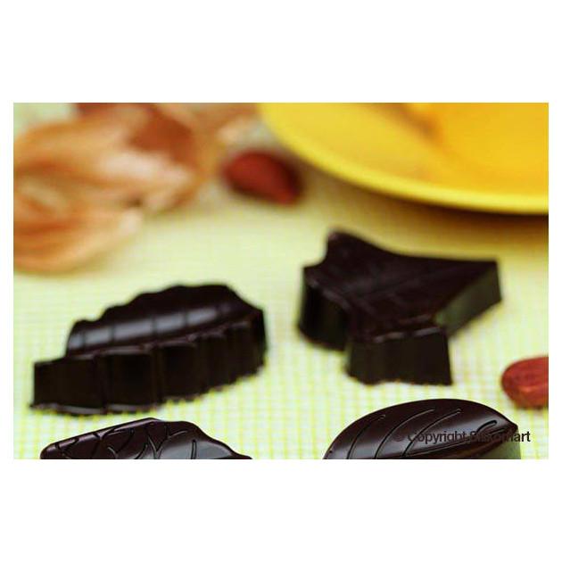 Chocolats en forme de feuille realises avec le moule silicone easy choc