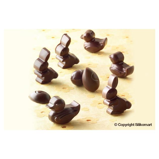 Chocolats de Paques realises avec le moule silicone paques EasyChoc