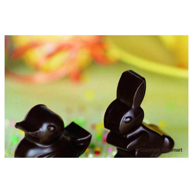 Lapin en chocolat realise avec le moule a chocolat silicone