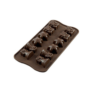 Moule à Chocolat 12 Sujets Noël Easy Choc - Silicone Spécial Chocolat
