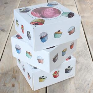 Lot de 3 boites pour 4 Cupcakes 17x17x8 cm