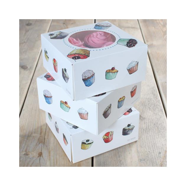 Lot de 3 boites a Cupcakes 17x17x8 cm + inserts