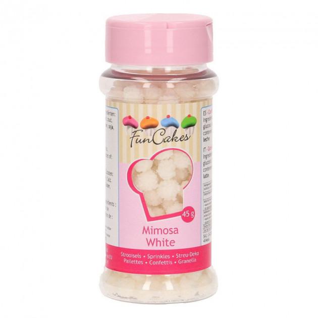 Decors en sucre Mimosa Blanc 45 g Funcakes