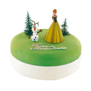 Kit Décor Gâteau La Reine des Neiges Princesse Anna et Olaf (5 pièces)