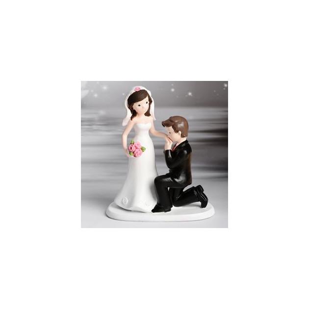 FIN DE SERIE Figurine Mariage Couple baise-main 16.5 cm