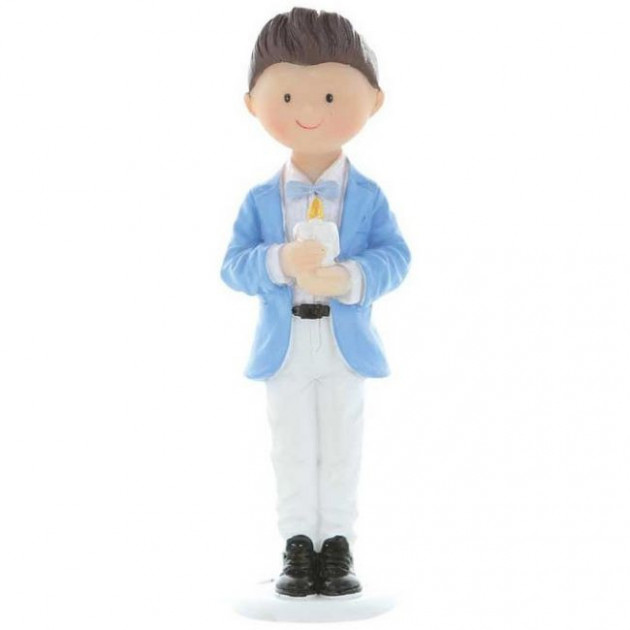 Figurine Communion Garçon avec bougie 10 cm