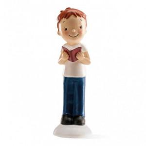 FIN DE SERIE Figurine Communion Garçon avec livre 12,5 cm