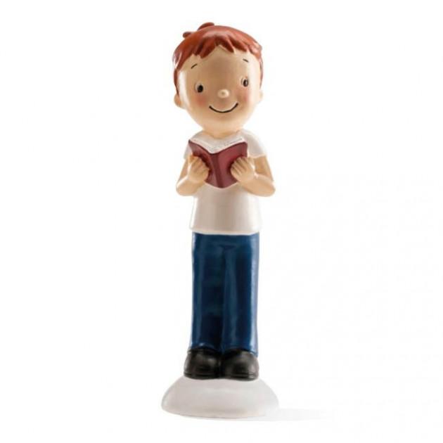 FIN DE SERIE Figurine Communion Garçon avec livre 12.5 cm
