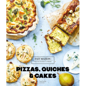 Livre de recettes pizzas, quiches et cakes, chez Hachette