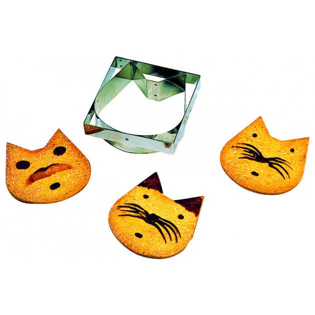 Emporte Piece Tete de Chat en Inox 110 x 110 mm