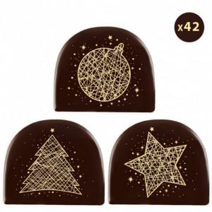 Embout de Bûche Motifs Or Décor en Chocolat 77x65 mm (x42) Florensuc