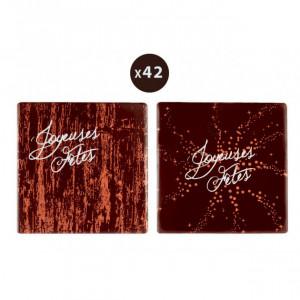 Embout de Bûche Carré Joyeuses Fêtes Décor en Chocolat 80x80 mm (x42) Florensuc
