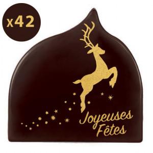 Embout de Bûche Cerf Joyeuses Fêtes Décor en Chocolat 80x60 mm (x42) Florensuc