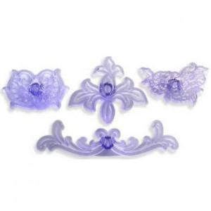 kit de 4 emportes pièces à motifs floraux