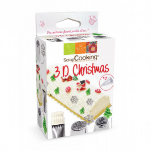 Coffret 3 Douilles Pâtisserie Inox 3D Christmas ScrapCooking