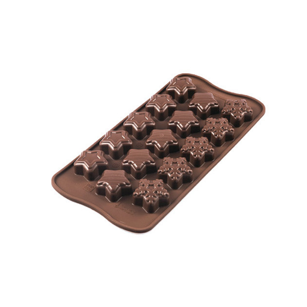 Moule a Chocolat 15 etoiles de Noel Easy Choc - Silicone Special Chocolat