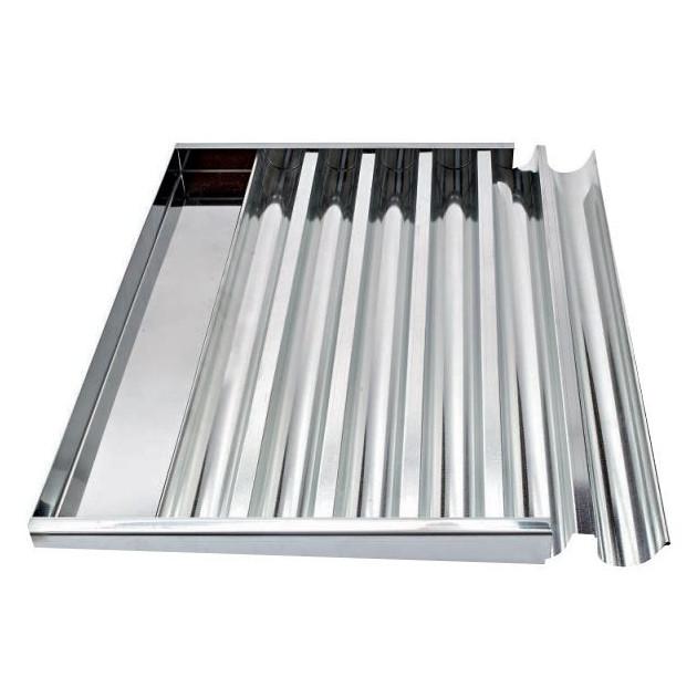 Plaque a Bûchettes 6 Gouttieres Fer Blanc 60x40 cm