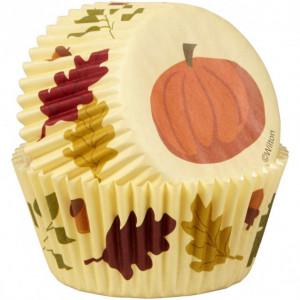 Caissette Cupcake Feuille et Citrouille (x50) Wilton