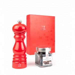 FIN DE SERIE Coffret Moulin à Poivre Paris U'Select 18 cm Laqué rouge et Poivre Tan Hoi 70 g Peugeot