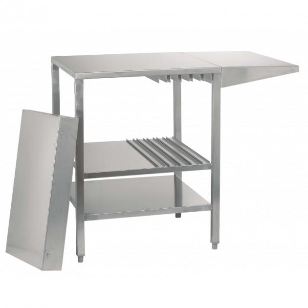Table inox avec tablette rabattable